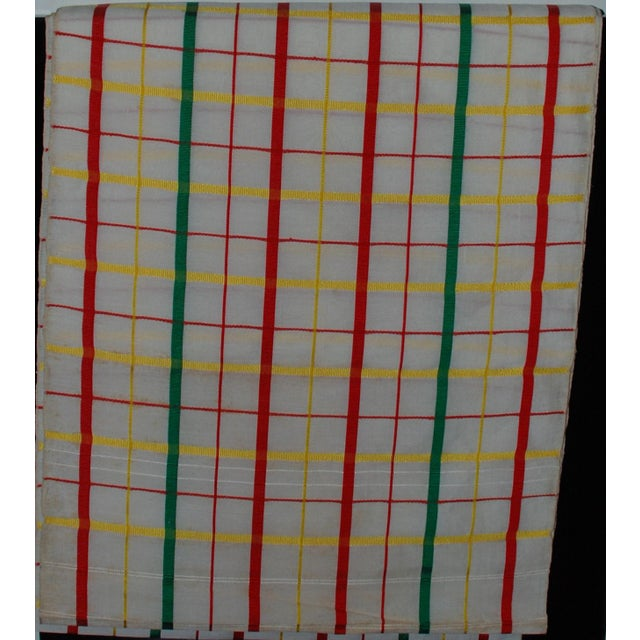 Asian White, Red & Green Japanese Linen Kimono Obi Cheques Antique For Sale - Image 3 of 10
