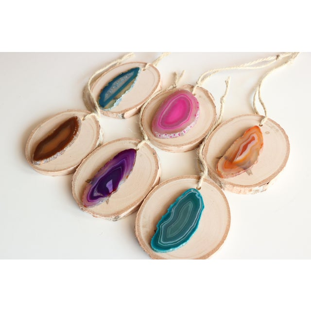 Agate Slice Birch Round Christmas Ornaments - Set of 6 - Image 3 of 7