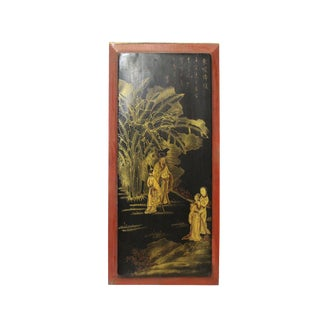 Vintage Restored Golden Oriental Scenery Graphic Wood Panel Art For Sale