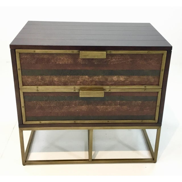 Stylish juxtaposition of materials, Currey & Co. wood, leather, and brass holden nightstands pair, two drawers, showroom...