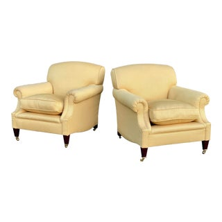 George Smith Laid-Back Arm Chairs - a Pair For Sale