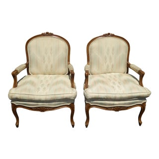 Vintage French Provincial Carved Wood Off-White Floral Design Accent Chairs - a Pair