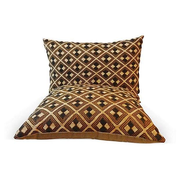 African Kuba Pillows - Pair - Image 2 of 5