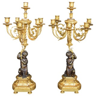Pair of Putti Bronze Candelabras For Sale