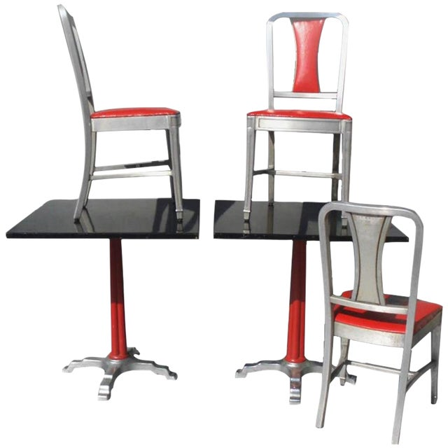 Speak easy Moderne cafe tables and chairs by aluminum company of America (ALCOA). There are four tables and eight chairs...
