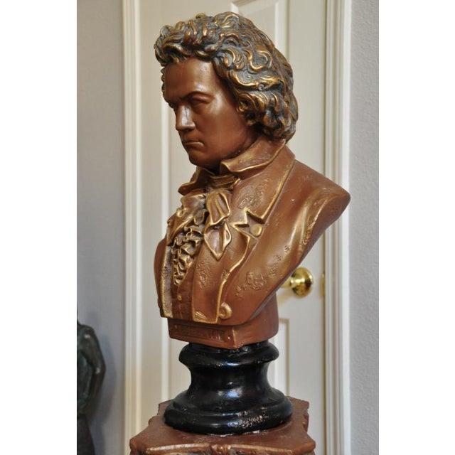 Antique Ceramic Bust Sculpture of Beethoven on a Ceramic Pedestal For Sale - Image 4 of 8