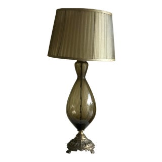 Midcentury Topaz Glass Table Lamp For Sale