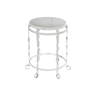 White Metal and Wood Rustic Stool For Sale