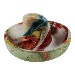 Vintage Swirl Pottery Cowboy Hat Ashtray