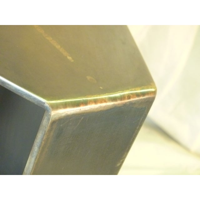 Flower Bronze and Steel Pedestal Stand - Image 5 of 6
