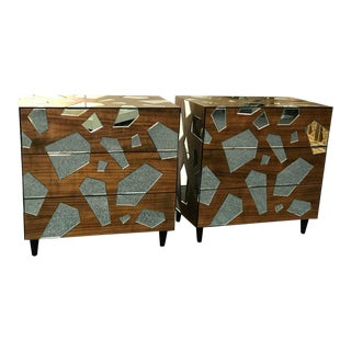 Pair of Mirrored Commodes or Side Tables For Sale