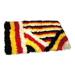 """Mid Century Hand Hooked Abstract Design Shag Rug-2'x3'6"""" For Sale"""