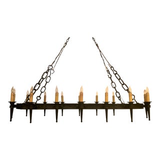 Grand Size Antique Wrought Iron Chateau Great Hall Light Chandelier, Circa 1800-1830. For Sale