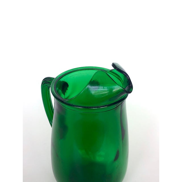 1960s Vintage Anchor Hocking Forest Green Glass Pitcher For Sale - Image 5 of 12