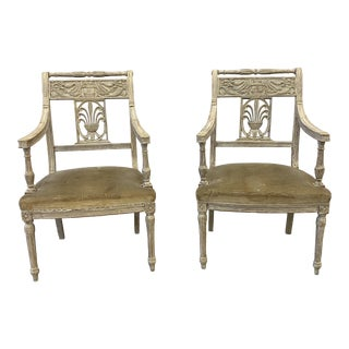 Italian Arm Chairs With Upholstered Seats - 19th Century - a Pair For Sale