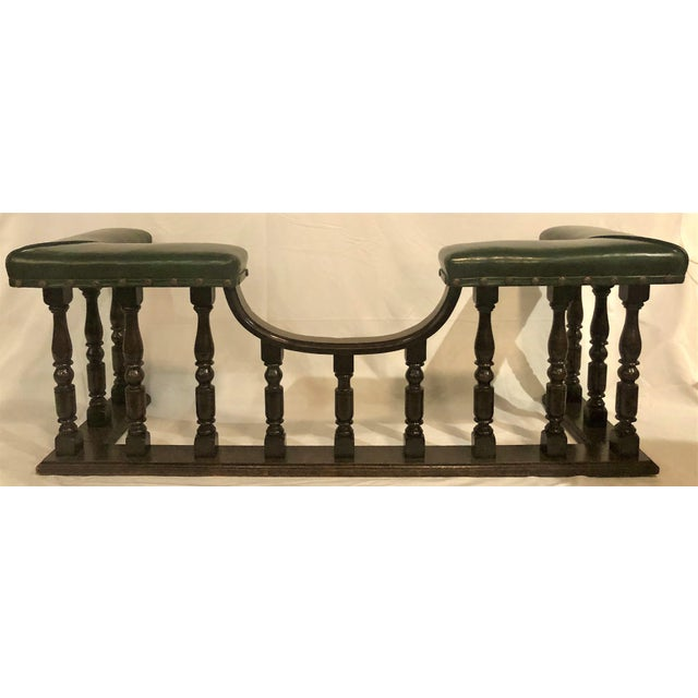 Antique English Country Oak and Leather Fireside Bench, Circa 1890.