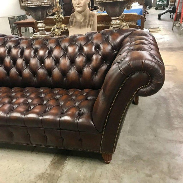 Mid 20th Century Sumptuous Leather Chesterfield Sofa With Rolled Arms For Sale - Image 5 of 13