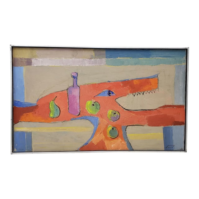Mid Century Abstract Still Life Oil Painting by Francisco Ferro C.1960 For Sale