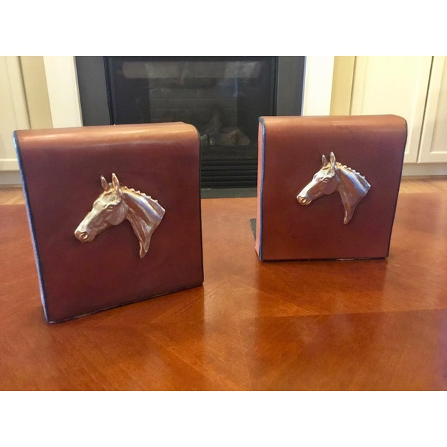 1970s English Equestrian Saddle Leather Bookends - a Pair For Sale - Image 5 of 12