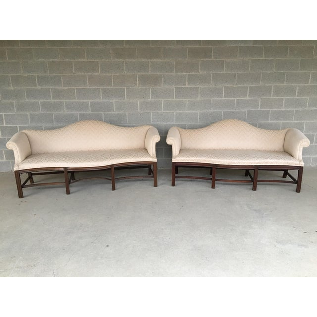 19th Century Antique Chippendale Style 8 Leg Camel Back Serpentine Front Settees - A Pair For Sale - Image 13 of 13