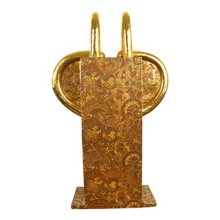 1980s Howard Kottler Paisley & Gold Vessel Sculpture For Sale