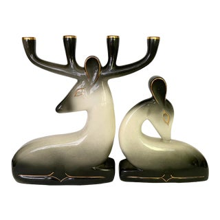 Vintage Hedi Schoop Ceramic Deer Candelabra Set For Sale