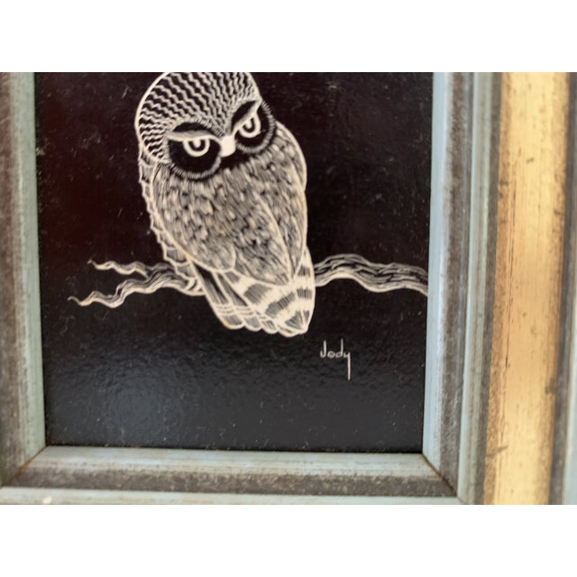 1970s Vintage Framed & Signed Scratch Art - a Pair For Sale - Image 5 of 11