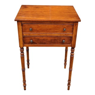 1930s Antique American Carved Cherry Wood Nightstand For Sale