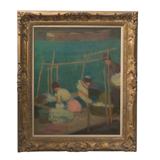 Artist Roy Gamble signed and dated lower right side. American artist (1887-1972). Dimensions: 30 x 24. Framed in a...