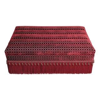 Kenneth Alpert Custom Red Velvet Storage Ottoman For Sale