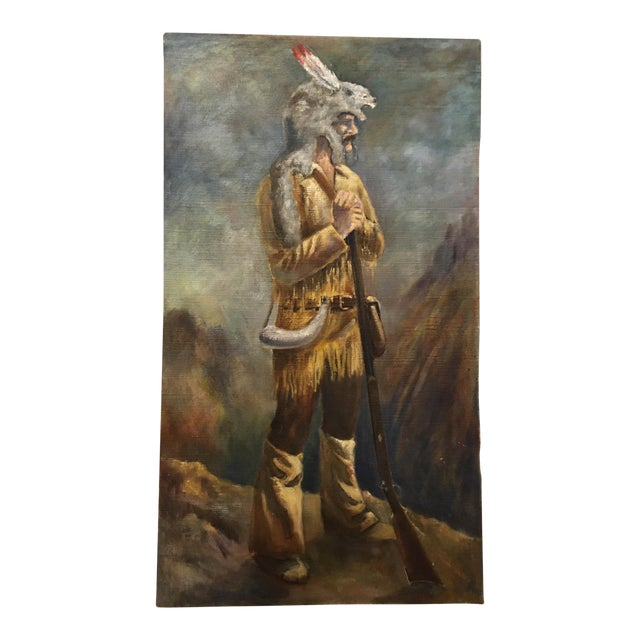 Mid 20th Century Portrait of a Frontiersman Oil Painting For Sale