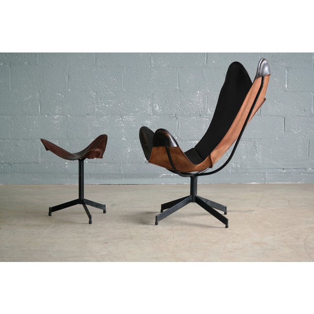 Mid-Century Modern William Katavolos Leather Sling Chair and Ottoman for Leathercraft For Sale - Image 3 of 8
