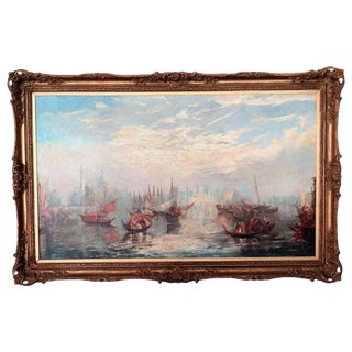 Antique Venice Seascape Oil, Francis Moltino, Artist (1818 - 1874) For Sale