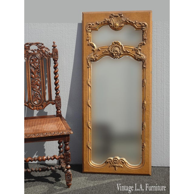 Vintage French Provincial Gold Wall Mantle Mirror Trumeau Style Gorgeous Mirror in Great Vintage Condition. Solid and...