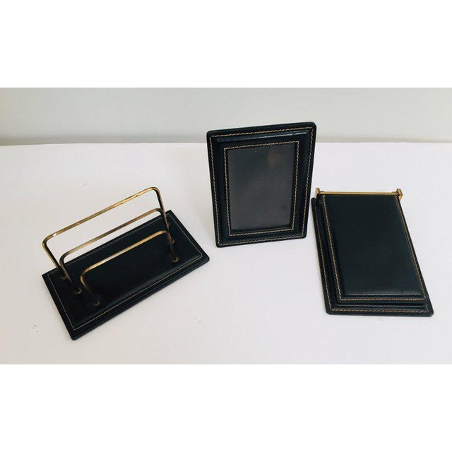 Vintage Desk Set, Black Leather and Brass Letter Rack, Picture Frame and Notepad For Sale - Image 13 of 13