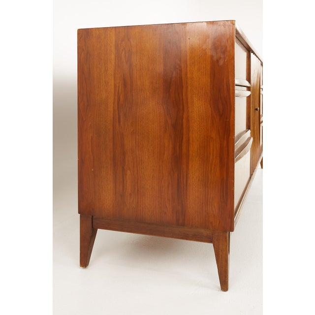 Mid 20th Century Thomasville Brutalist Mid Century Walnut Lowboy Dresser For Sale - Image 5 of 13