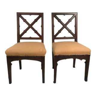 Pair of 19th Century French Gothic Revival X-Back Chairs For Sale