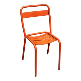 Early 20th Century Vintage Orange Metal Chair For Sale