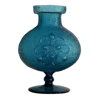 Wayne Husted for Stelvia Blue Glass Raised Flower Design Vase For Sale