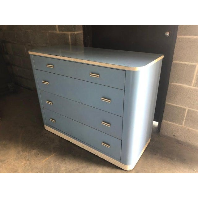 Art Deco Dresser Lowboy by Norman Bel Geddes for Simmons Circa 1930s, Baby Blue and White For Sale - Image 3 of 12