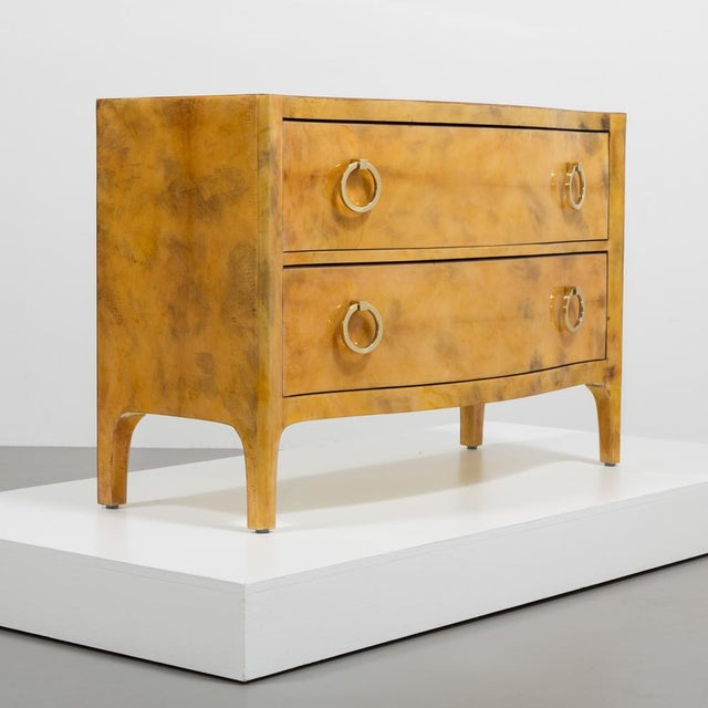 Yellow Lacquered Goatskin Commode 1970's For Sale - Image 8 of 8