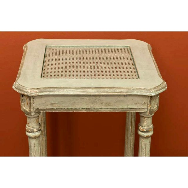 French 2-Tier Painted Wood & Caned Side Table For Sale In Detroit - Image 6 of 6