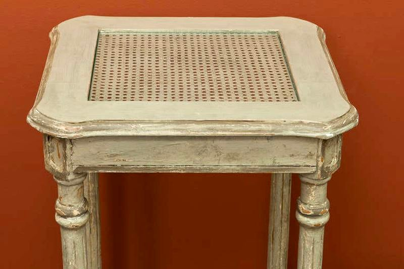 French 2 Tier Painted Wood U0026 Caned Side Table   Image 6 ...