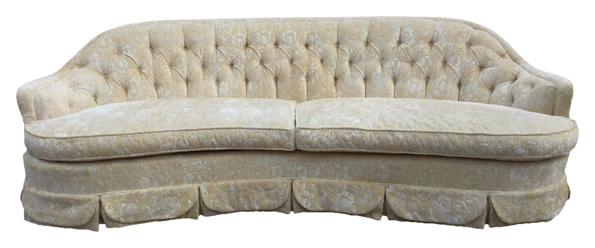 Beau Dorothy Draper Inspired Hollywood Regency Curved Tufted Sofa
