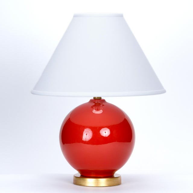 Ceramic Casa Cosima Sphere Table Lamp, Persimmon/Ivory Shade, a Pair For Sale - Image 7 of 8