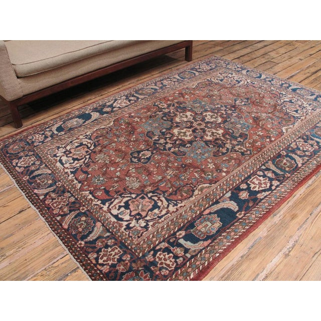 A very finely woven Persian rug from the fabled city of Isfahan. Restrained color palette, handsome design, amazing...