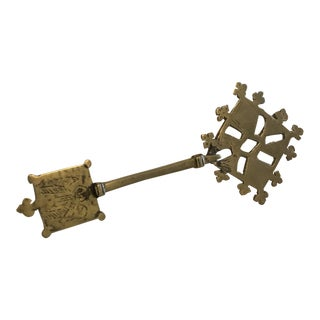 Vintage African Hand Made Brass Ornamental Church Key For Sale