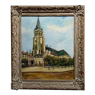 """Elise Maclet """"Saint Germain Des Prés"""" Paris Oldest Church Oil Painting For Sale"""