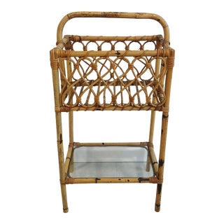 Mid Century TallBurnt Bamboo Magazine Stand With Glass Shelf For Sale