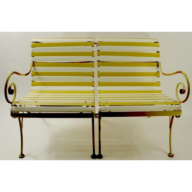 Mid 20th Century Woodard Scroll Arm Plastic Strap Settee For Sale - Image 5 of 12